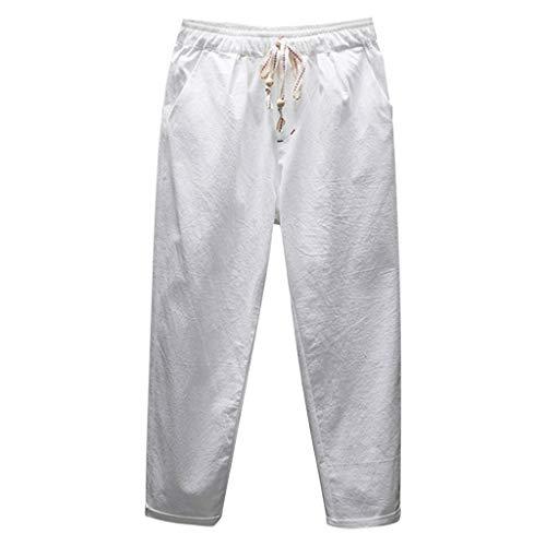 SHE.White Herren Lockere Leinenhose Einfarbig Große Größe Strandhose Lange Stoffhose mit Kordelzug und Tasche Bequeme Stoffhose Freizeithose Arbeitshose M-5XL