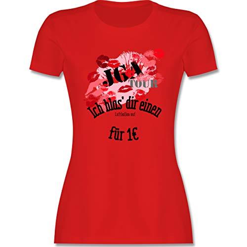JGA Junggesellenabschied Frauen - JGA Tour - Ich blas dir einen Luftballon auf - XL - Rot - Shirt Polterabend - L191 - Tailliertes Tshirt für Damen und Frauen T-Shirt