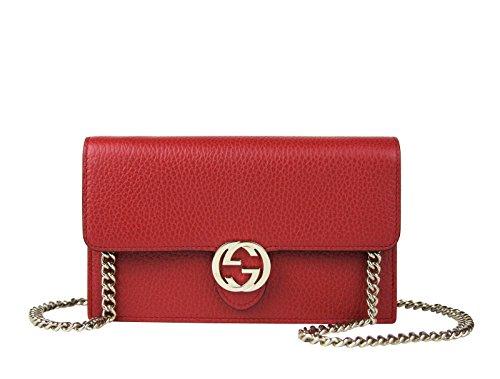 Gucci Women's Interlocking GG Red Leather Crossbody Chain Wallet 510314 6420