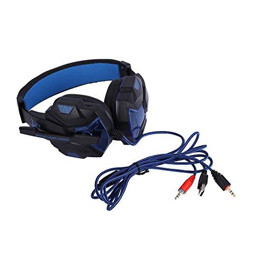 POCREATION Fone de ouvido para jogos estéreo dobrável com microfone, cancelamento de ruído sobre a orelha, fones de ouvido com fio com luz LED PS4 para telefones, laptop, escritório (azul)
