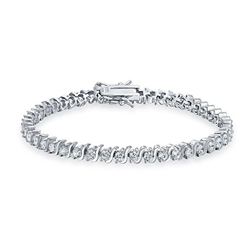 Bling Jewelry Bridal 10Ct Simple Cubic Zirconia Wave Set Round AAA CZ Solitaire Tennis Bracelet for Women for Prom 925 Sterling Silver