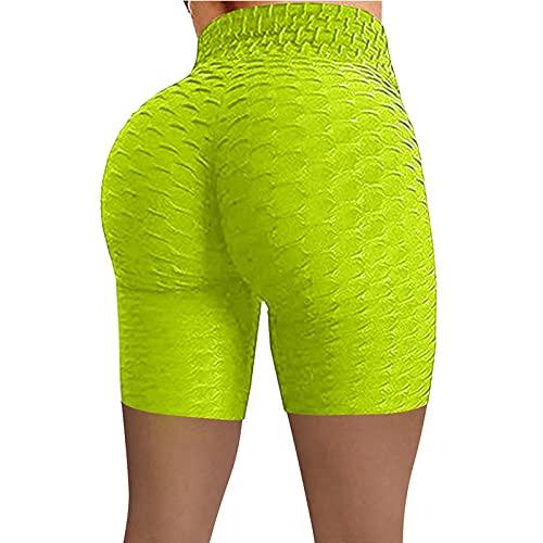 Pantalones Cortos para Mujer Pantalones Cortos Deportivos elásticos Simples de Color sólido Pantalones Cortos Deportivos de diseño Personalizado Jacquard de Cintura Alta Europeos y Americanos XXL