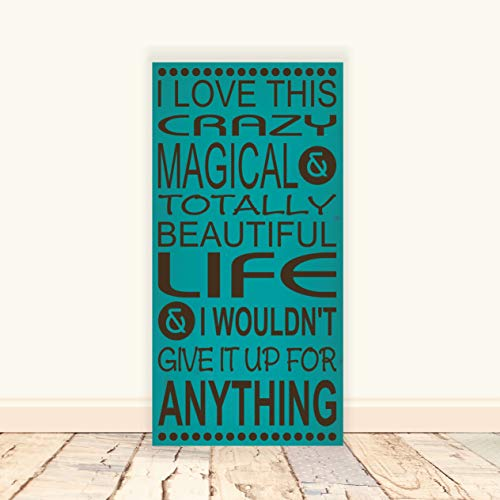 Dkisee I Love This Crazy Magical & Totally Beautiful Life Wooden Sign, Rustic Wood Sign, Family Sign, Funny Sign, Desk Wall Art Plaque Decoration, 4\