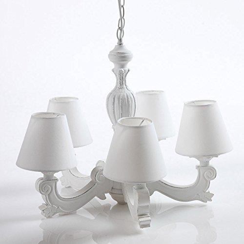 DiKasa Home Lampadario 5 Bracci, Legno, Bianco, 46x46x50 cm