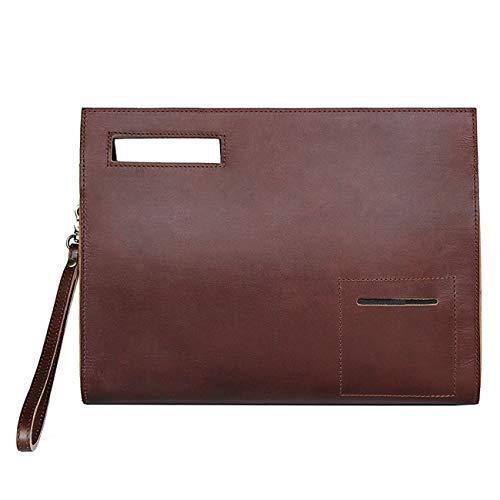 YOGCI Leather Document Bag Holder Business File Folder Portfolio Laptop Case Fits 12.9 Inch Tablet, Brown