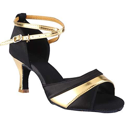 Shanrya Zapatos De Baile, Zapatos Latinos De Satén, Negro + Dorado 37-40 Sin Defrmación para Entrenamiento De Baile Salón De Baile Latino(37)