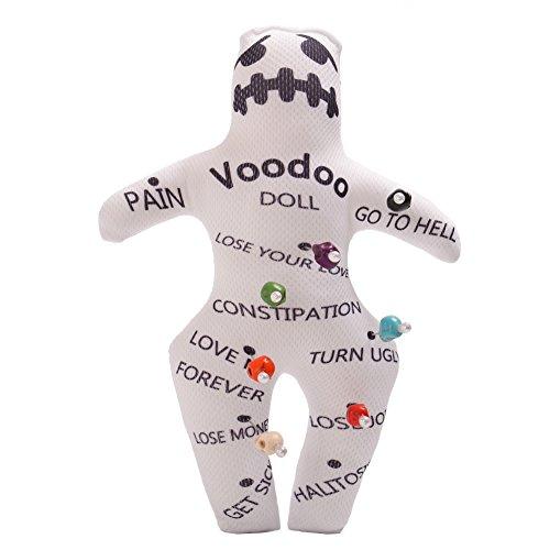 GRACEART Revenge Voodoo-Puppe mit Totenkopfnadeln, personalisierbar, Weiß