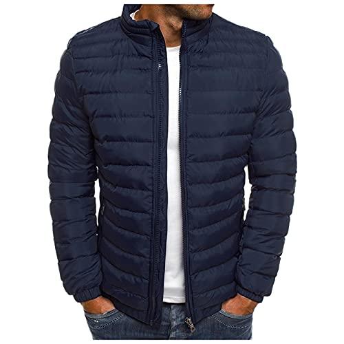 BIKETAFUWY Doudoune pour homme - Veste d'hiver chaude et légère avec fermeture éclair - En coton - Pour homme, bleu marine, M