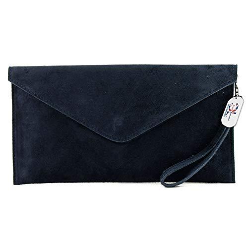 Craze London Brand Verapelle Genuine Italian Suede Large Envelope Shaped Clutch bag Purse handbag (Navy)