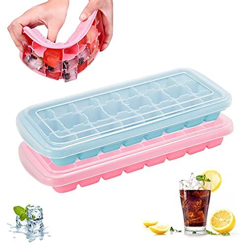 Ealicere 2 Stück Eiswürfelform, Viereckig Groß Eiswürfelform Silikon mit Deckel Platzsparend und stapelbar Ice Tray Ice Cube,für Cocktail, Whisky, Getränke, Saft, Kindernahrung usw,24-Fach,Blau/Pink
