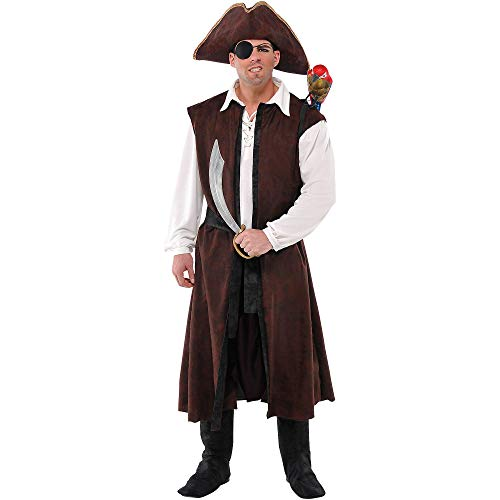 Amscan Long Brown Pirate Vest Halloween Costume Accessory for Adults, One Size