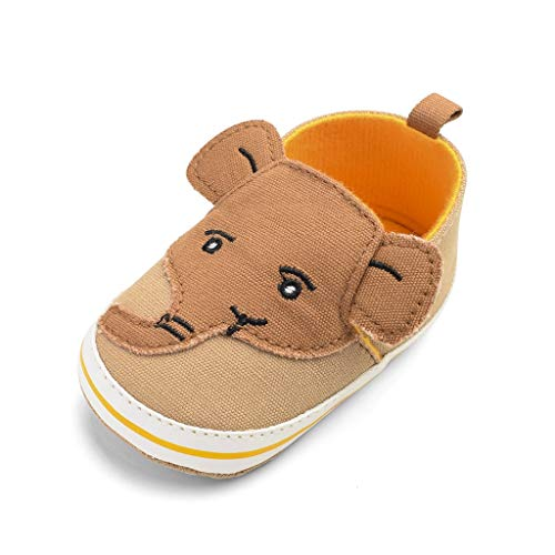 Baby Shoes Beach Sandals,Ewendy Chaussures bébé garçon éléphant Cartoon Chaussures en Toile antidérapantes à Semelle Souple (0-6 Mois, Brown)