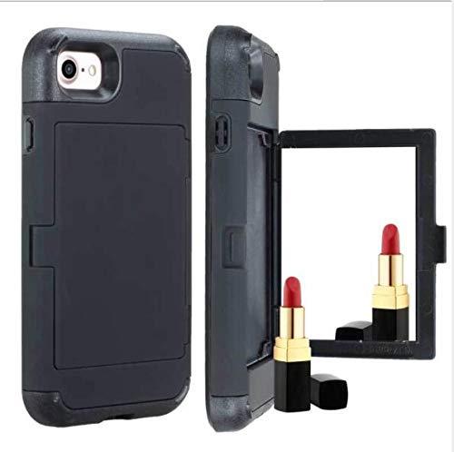 WLWLEO para SamsungS10/S10E Estuche,2 en 1 Funda Protectora de Silicona para Mujer con antideslizamiento de Silicona para Mujer con Espejo cosmético para Samsung S10 Plus,Black,SamsungS10