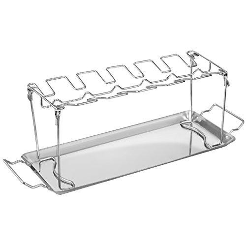 mumbi BBQ Hähnchen Schenkel Halter für 12 Unterkeulen mit Auffangschale