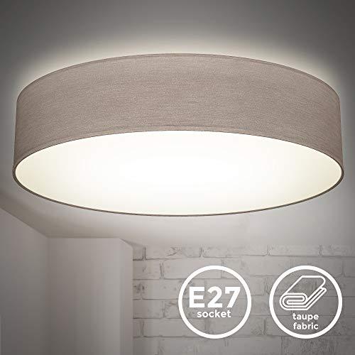 B.K.Licht I 20 W LED-Stoffdeckenleuchte I 48 cm I neutralweiß 4.000 K I 1800 Lumen I 20 Watt LED Platine I Taupe