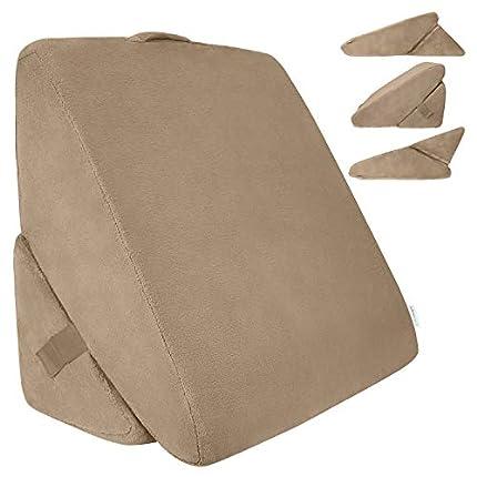 Xtra-Comfort - Almohada de cuña de cama plegable de espuma viscoelástica para espalda y piernas, diseño de triángulo para leer, soporte y lavable