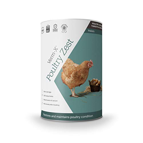 Verm-X Poultry Zest for Recovery After Moulting. Restores and Maintains Condition for Chickens, Ducks, Geese and Turkeys. Vet approved. UFAS assured. Safe to Eat Egg Whilst Feeding.