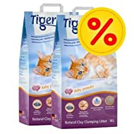 Tigerino Nuggies Cat Litter, Baby Powder Scent. 2 x 14 kg, Double Pack