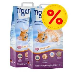 Tigerino Doppelpack Nuggies Katzenstreu - Babypuderduft 2 x 14 Liter