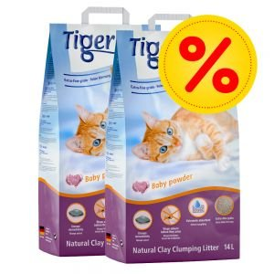TIGERINO Nuggies - lettiera per gatto, 2 x 14 litri
