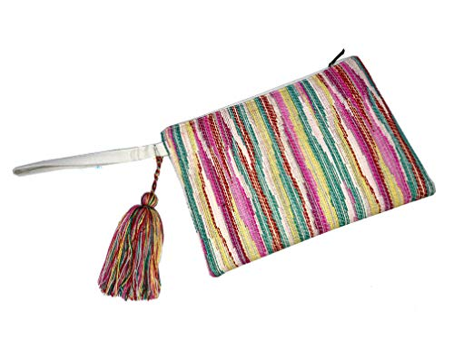 d'd Bolso de mano algodón rayas multicolor. 26x19x2cm