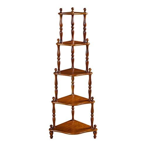 QIANGDA Bücherregal Bücherschrank 5 Stufen Eckregal Blumenstand Trapezförmiges Design, 2 Farben, 40.8x40.8x145cm (Farbe : Nussbaum)