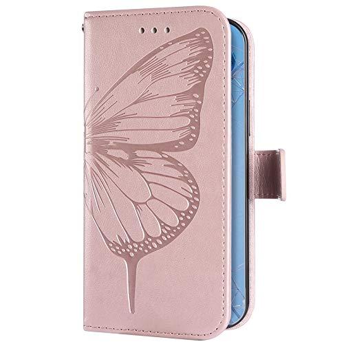 Uposao Kompatibel mit Samsung Galaxy A31 Hülle Wallet Leder Handyhülle Schmetterling Klapphülle Brieftasche Schutzhülle Flip Case Handytasche mit Kartenfach für Mädchen Männer,Rose Gold