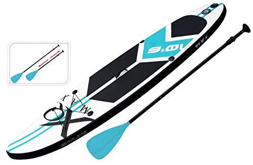 XQ Max - Tavola professionale per SUP - 320 cm - Set completo con pompa, attrezzo per patchwork, cordino, pagaia regolabile e borsa impermeabile da 2 l, colore: Blu