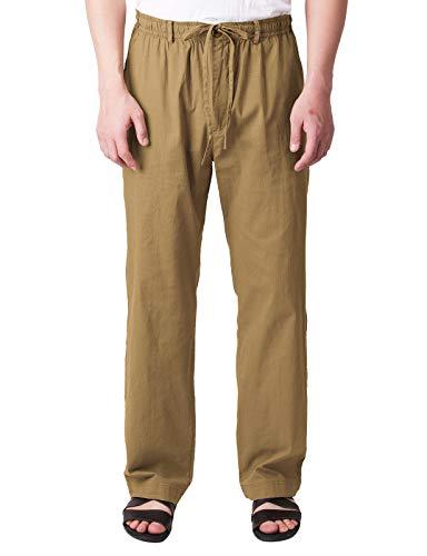 H2H Men's Drawstring Pant Back Elastic Waistband Khaki US 3XL (CMBLP084)
