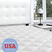 Mattress Topper - Bamboo Extra Thick Mattress Pad with Fitted Skirt - Extra Plush Cooling Topper - Proudly Made in The USA - Queen