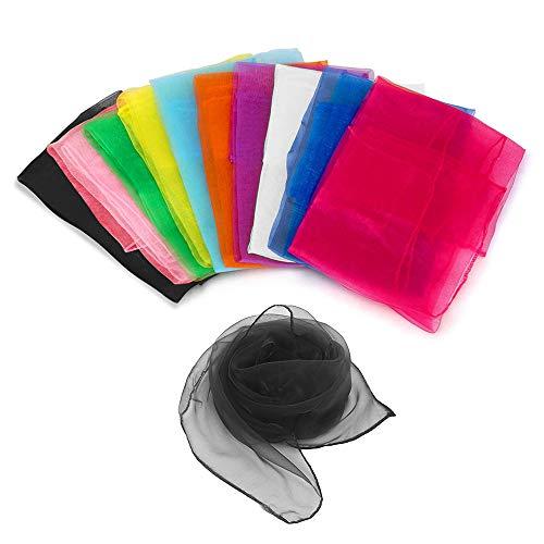 EKdirect 10 Stück Tanz Tücher, Square Jongliertücher Performance Schals für Kindergarten Kindershow 70 x 70 cm