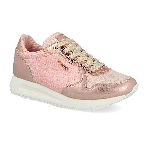 Zapatilla Sneaker Yumas Verona Rosa Fabricado en Piel Sintetica y nilon Plantilla Latex para Mujer