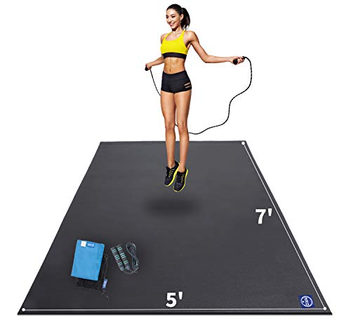 Premium Large Exercise Mat 7' x 5' x 7mm, High-Density Workout Mats for Home Gym Flooring, Non-Slip, Extra Thick Durable Cardio Mat, and Ideal for Plyo, MMA, Jump Rope - Shoe Friendly