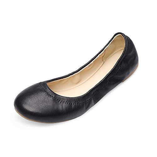Xielong Women's Chaste Ballet Flat Lambskin Loafers Casual Ladies Shoes Leather Black 7.5