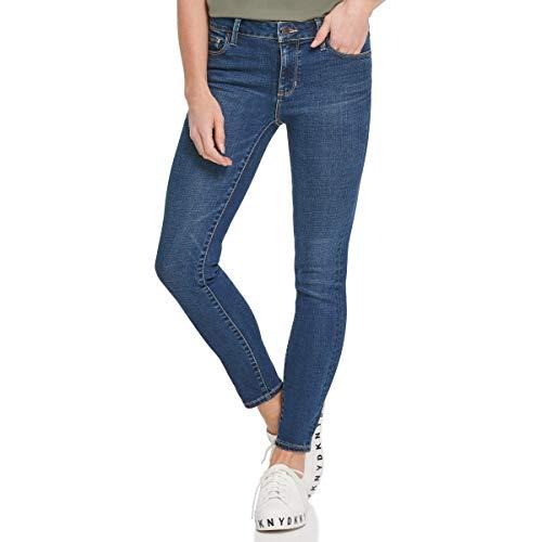DKNY Women's Varick Mid Rise Skinny Jeans, Dark Wash, 29