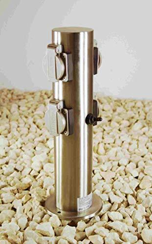 Steckdosensäule Edelstahl für Außen 4-fach IP44 mit Schalter