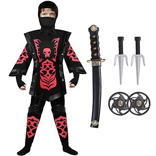 Tacobear Costume da Ninja per Bambino Ninja Abbigliamento Costume da Festa di Halloween per Ragazzo 4 - 12 Anni (M (7-9 anni), rosso)