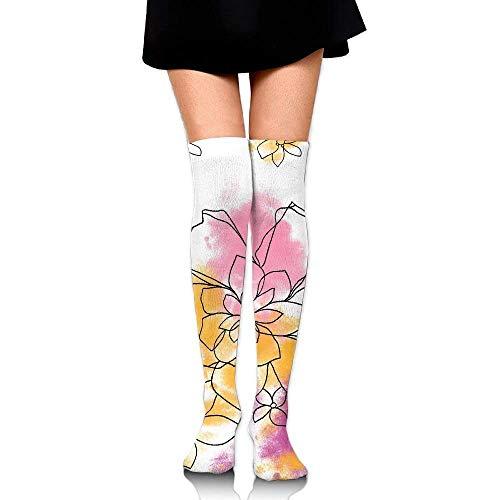 mjmhvfhtgdcgdcx Floral Designer Dekorative Overknee Lange Socken Schlauch Oberschenkelhohe Sockenstrümpfe Für Mädchen & Damen 50 cm