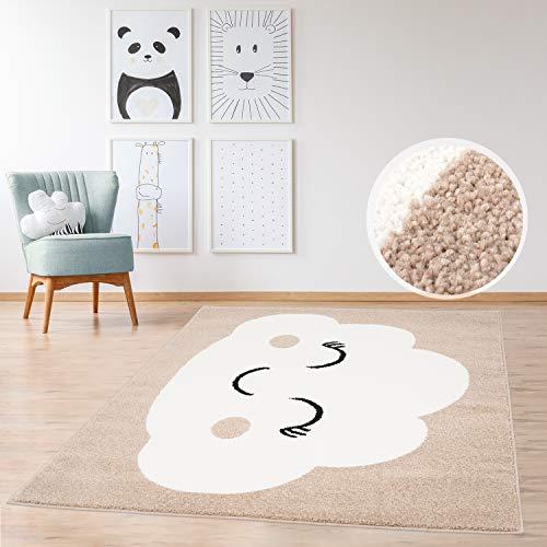 MyShop24h Kinderteppich Teppich Flachflor 160x225cm Pastell Beige farbener Spielzimmerteppich mit fröhlicher Wolke für das Kinderzimmer (Mädchen & Jungen)