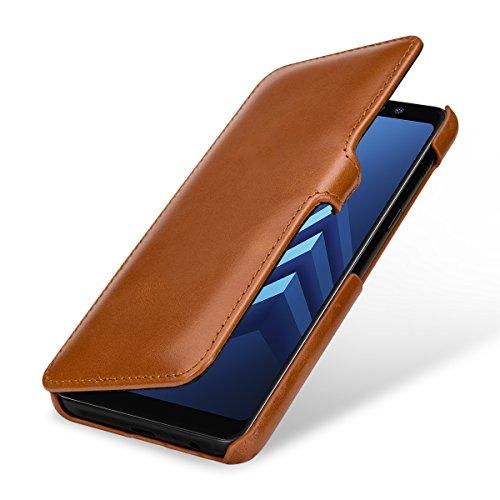 StilGut Leder-Hülle für Galaxy A8 2018 Book Type, Cognac mit Clip