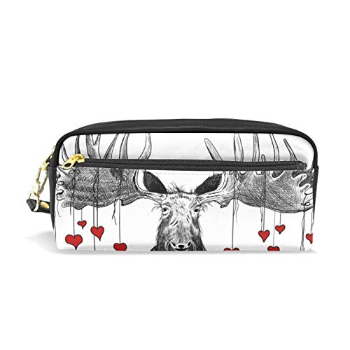 Pencil Case, Large Capacity Pencil Bag Pouch Holder Stationery Desk Organizer for Boys Girls School Students Adults and Office Supplies Moose with Beard and Red Hearts