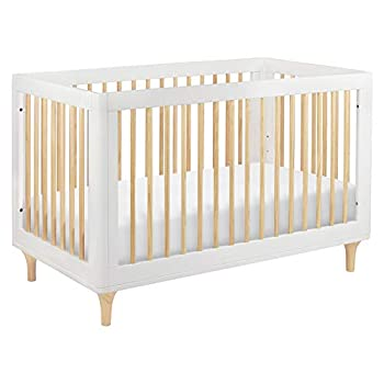 Babyletto Lolly 3-in-1 Convertible Crib with Toddler Bed Conversion Kit in White/Natural Greenguard Gold Certified