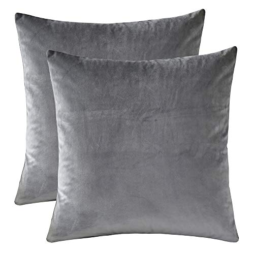 Rythome Set of 2 Comfortable Throw Pillow Cover for Bedding, Decorative Accent Cushion Sham Case for Couch Sofa, Soft Solid Velvet with Zipper Hidden - 18