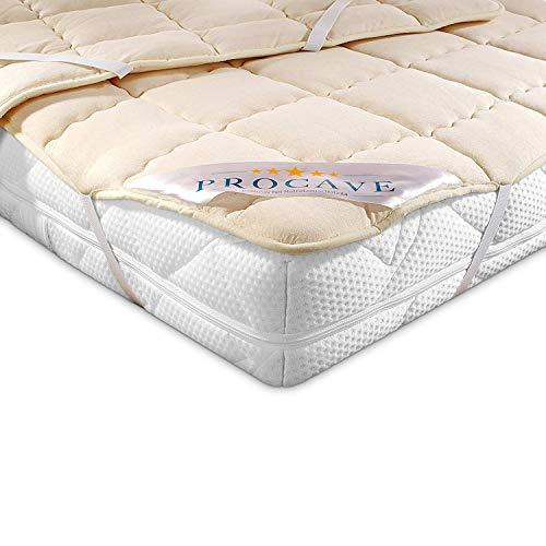 PROCAVE weiches Unterbett aus Schurwolle, atmungsaktiver Matratzen-Schoner, Matratzenbezug mit 4 Eckgummis,Matratzen-Auflage 100x200 cm