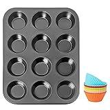 Asdirne Stampo Muffin, Teglia per Muffin in Acciaio al Carbonio, Stampi Muffin con Rivesti...