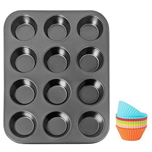 Asdirne Stampo Muffin, Teglia per Muffin in Acciaio al Carbonio, Stampi Muffin con Rivestimento Antiaderente per Alimenti, Nero, 13,5 Pollici, Stampi per Cupcake in Silicone Give12