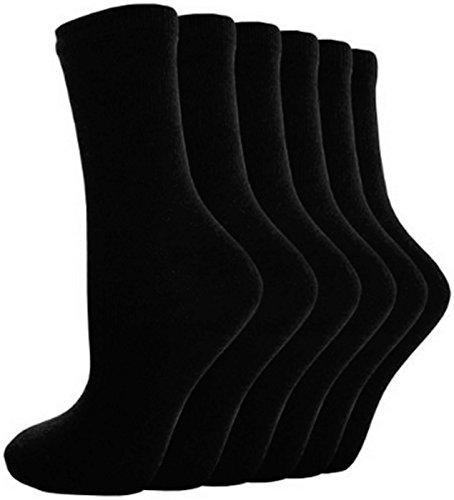 Calcetines Escolares R1 Cortos Lisos De Algodón 12 Pares para Niño o Niña - algodón, Negro, 5% elastano +2% variado 75% algodón 25% poliéster, Niña, EU 30-36