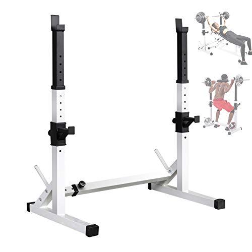 HT&PJ Rack Squat Regolabile Regolabile Tozzo Montaggio in Rack Porta Multi-Funzione di Dip Supporto Bilanciere Bilanciere Stand Portata Massima 200kg (Bianca)