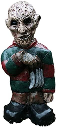 Gartenzwerg / Gartenzwerg, gruselig, untot, Halloween-Skulptur, von Hand geschnitzt, Zwerg, Statue, die beste Sammlung, Geschenke für Horrorfilliebhaber (Freddy Krueger)