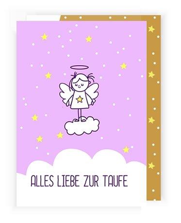 """Karte zur Taufe\""""Schutzengel\"""" für Mädchen mit Umschlag (Recycling-Papier)"""
